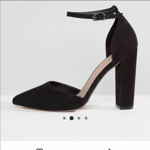LIKE NEW ASOS Pointed Black Ankle Strap Heels